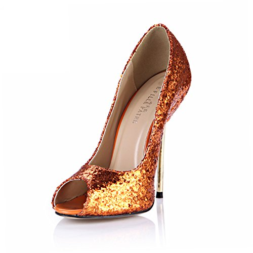 DolphinGirl Women Fashion Glitter Peep Toe High Heels D'Orsay Pump Stiletto SM00190 Glitter Orange FJ4BO