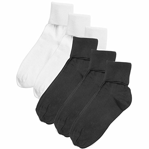 Women's Buster Brown 100% Cotton Fold Over Socks - 6 Pair Pack - White/Black - ()