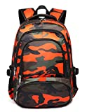 Kids Backpacks for Boys Camouflage Elementary School Bags Bookbags Lightweight Durable (Camo Orange)