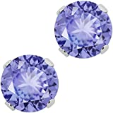 Sterling Silver Genuine Tanzanite Gemstone Birthstone Women's Jewelry Stud Earrings (1.00 Cttw, 5MM Round)