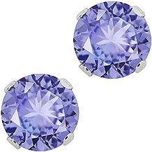 Sterling Silver Tanzanite Gemstone Birthstone Women's Jewelry Stud Earrings (1.00 Cttw, 5MM Round)