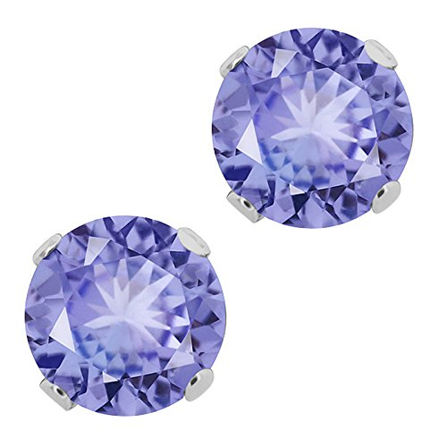 Sterling Silver Tanzanite Gemstone Birthstone Women's Jewelry Stud Earrings (1.00 Cttw, 5MM Round)