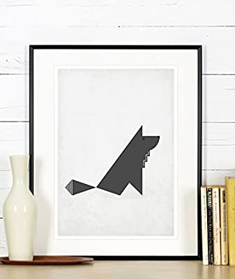 Amazon.com: Cartel retro, lobo gris, diseño minimalista ...