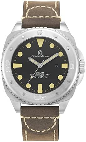 Giorgio Milano Mens Watch Explorer Stainless Steel Automatic Diver, Swimming, Watch with Genuine Leather Strap.