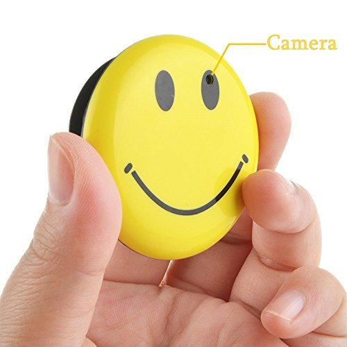 8GB Mini Hidden Spy Camera Wearable Smile Face Badge Covert Camera Nanny Cam Indoor Security Video Camera by Elite ETSPY