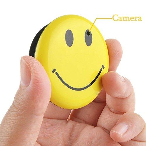 8GB Mini Hidden Spy Camera Wearable Smile Face Badge Covert Camera Nanny Cam Indoor Security Video Camera ()