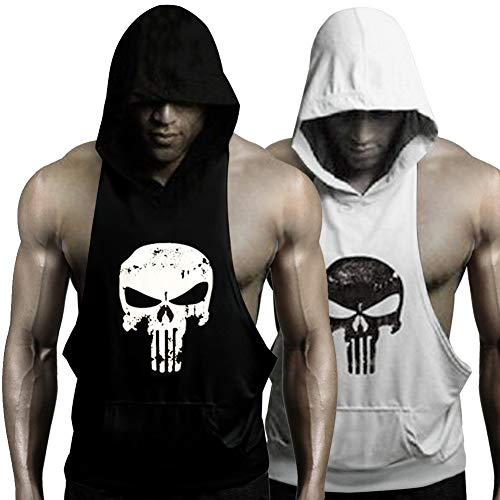 GZXISI Mens Skull Print Stringer Bodybuilding Gym Tank Tops Workout Fitness Vest (2 Pack:Black Hoodie,White Hoodie, XX-Large)
