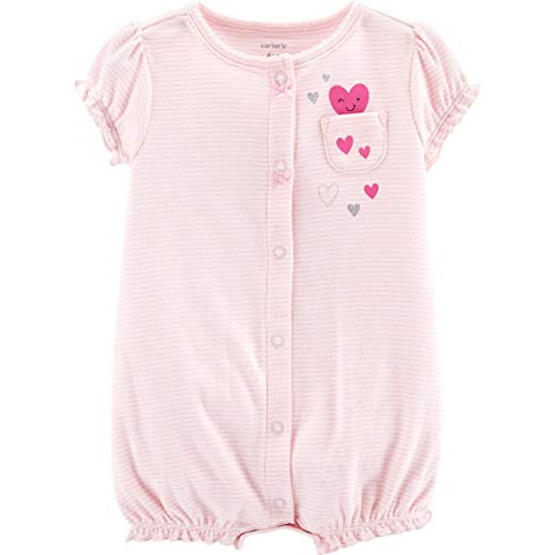 Carters Baby Girls Happy Heart Romper 3 Month Pink/White