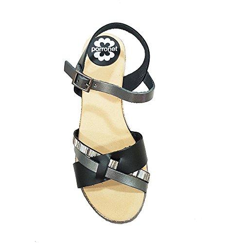 cruzadas Talla tiritas 40 Sandalia negro multicolor 4UZf4Aq