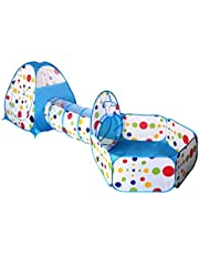 LIOOBO 3PCS/Set Kids Pop up Play Tent Crawl Tunnel and Ball Pit Bounce Playhouse Tent for Boys Girls Babies and Toddlers Indoor Outdoor Use with Carrying Case (Blue)