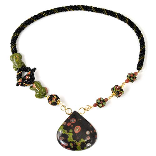 Statement Necklace in 14K Gold Filled with Plum Blossom Jasper and Unakite Frogs; One of a - Plum Jasper