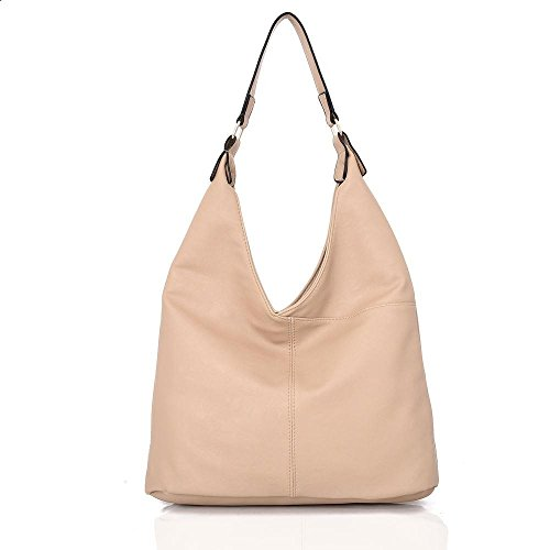 Ladies Soft Gorgeous Look Tote and Shoulder Handbag Bag Cream Leather Slouch SqWFafZw