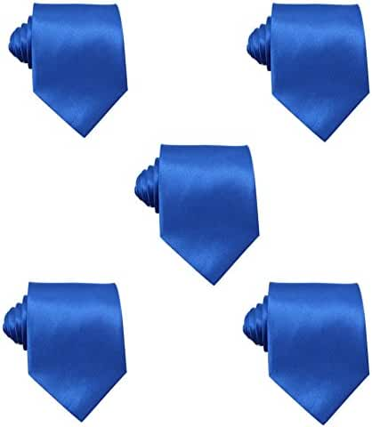 Mens Solid Satin 3.9 Inch Wide Formal Necktie Pack 5 For Wedding By JAIFEI