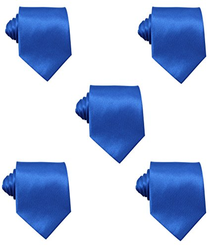 Mens Solid Satin 3.9 Inch Wide Formal Necktie Pack 5 For Wedding By JAIFEI (Royal Blue) - Royal Blue Solid Tie