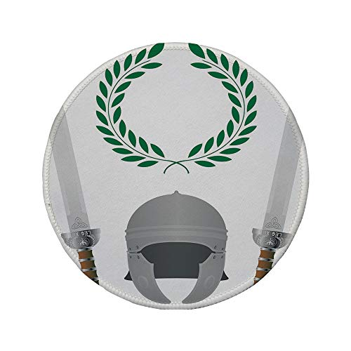 Non-Slip Rubber Round Mouse Pad,Toga Party,Roman Glory Heritage Knight Fourth Variant Shield Legend Illustration Decorative,Grey Hunter Green,11.8