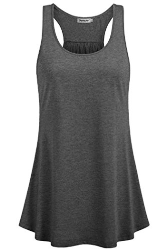 Summer Racer Womens Tank (Ouncuty Flowy Tanks Plus Size, Loose Summer Tank Womens Scoop Neck Tanks Tops Solid Flowy Yoga Grey Blouses Juniors Sleeveless Racer Back Fitness Tops Exercise Shirts Medium)