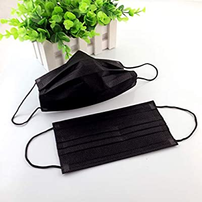 Cher9 Disposable Non-Woven Black Face Mouth Mask, 3 Layer Medical Anti-Dust Surgical