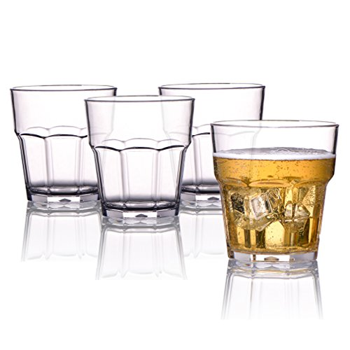 (MICHLEY Unbreakable Drinking Glasses 9 Oz, 100% Tritan Plastic Tumbler For Water Juice Beer and Cocktail, BPA-free, Dishwasher safe, Set of 4 )