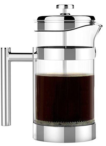 Pressed Glass Hand - The Original VERO Chambord French Press 34oz (1 Liter) - #1 Best Selling All Stainless Steel and Glass French Press - Sovrano International Coffee and Tea Press - 100% Plastic Free