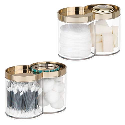 mDesign Plastic Bathroom Vanity Countertop Canister Jar with Recessed Storage Lid - Stackable, Divided, 2 Compartment Organizer for Cotton Balls, Swabs, Blenders, Bath Salts - 2 Pack, Clear/Soft Brass - Recessed Brass Soap Dish
