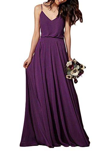 EverLove Women's Long Spaghetti Straps Prom Dress Chiffon Bridesmaid Dresses Grape US12