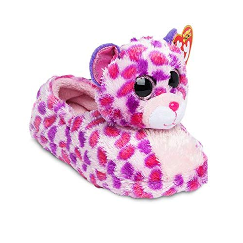 TY Beanie Boos Kids Girls Big Head Cute Animal Plush Cushion House Slip Slippers,Glamour Ty Leopard, Medium