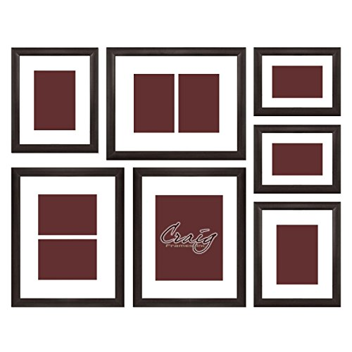 Frame Brown Set - Craig Frames 23247778 Picture Frame 7-Piece Wall Set, Brown Frames, White Display Mats