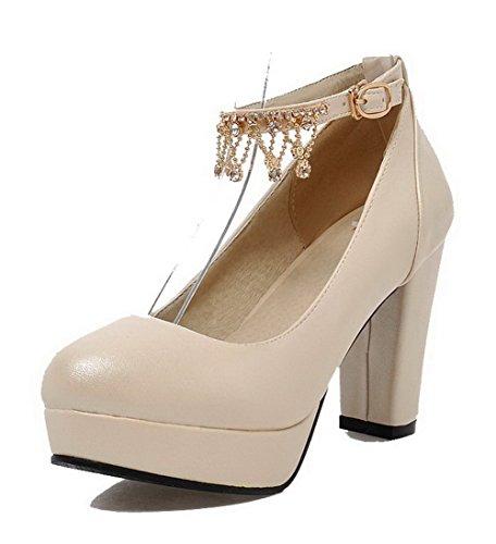 AgooLar Damen PU Eingelegt Schnalle Rund Zehe Hoher Absatz Pumps Schuhe Cremefarben