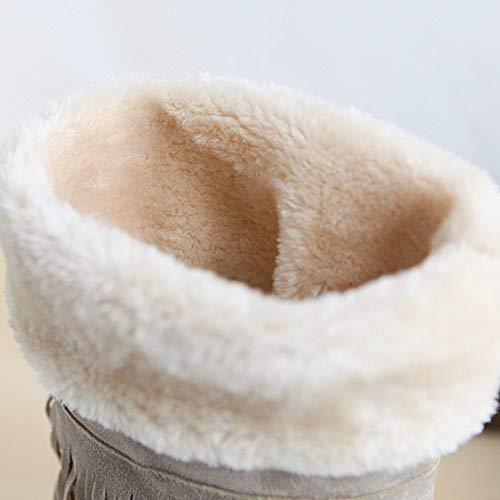 Casual Franges Ankle Noir Boots Femmes Talon Plates Coolcept 5qpwAOxR