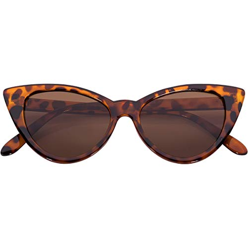 (OWL Cateye Sunglasses for Women Vintage Retro Sunnies Leopard Frame Brown Lens)