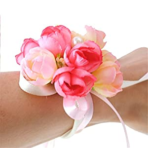 Girl Bridesmaid Wedding Wrist Corsage Party Prom Hand Flower Decor (Pink) 93