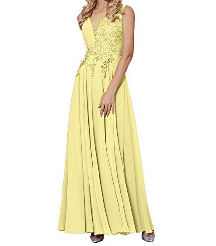 Damen Brautmutterkleider Partykleider Lang Abendkleider Chiffon Spitze Abschlussballkleider Kurzarm Elegant Charmant Gelb PxwZTFqdP