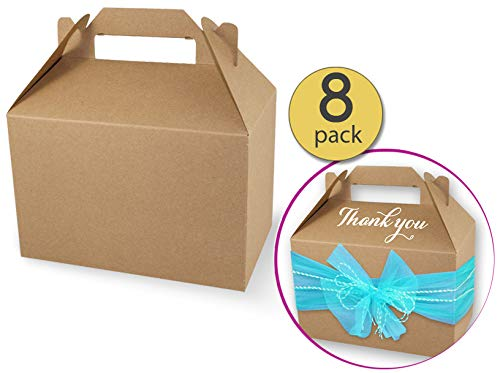 Set of 8 - Kraft Gable Boxes - Kraft Favor Boxes - Brown Paper Treat Boxes - Wedding Favor Boxes - Small - 4