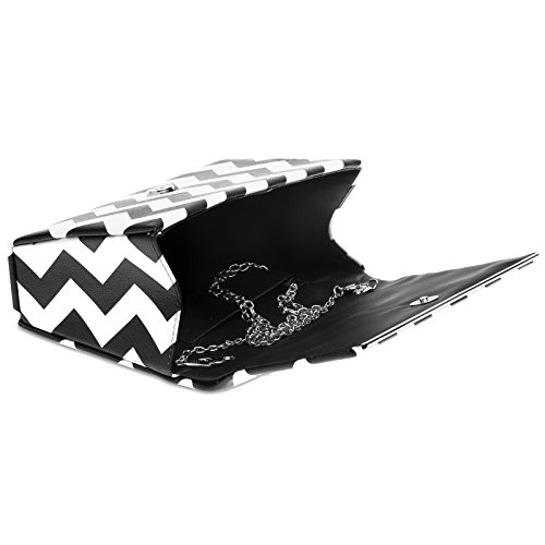 with and TA425 Clutch Retro 50ies Black zag White CASPAR Design Evening Black Bag Ladies White Elegant Zig wS8vdx