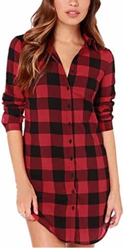 StyleDome Women Check Plaid Long Sleeve Collar Neck Casual Tops Shirts Blouses