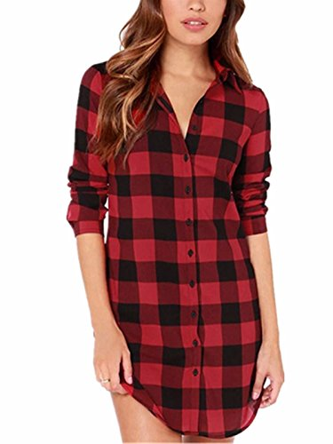 StyleDome Women Buffalo Check Plaid Long Sleeve Collar Neck Casual Button Down Tops Shirts Long Blouses Black Red 16 Buffalo Plaid Tunic Top