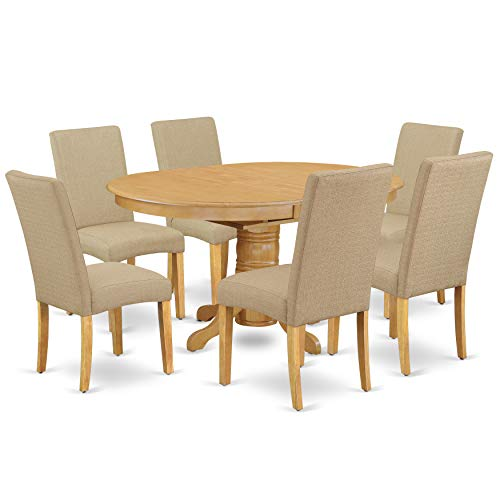 "East West Furniture AVDR7-OAK-16 7Pc Oval 42/60"" Dinette Table with 18 in Butterfly Leaf and 6 Parson Chair with Oak Finish Leg and Linen Fabric- Dark Khaki Color, 7,"