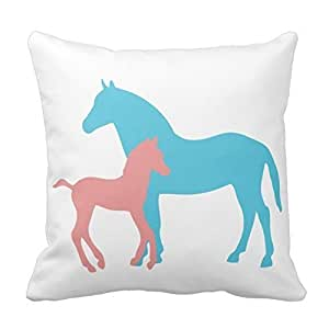 Generic Cotton 18 X 18 Horse And Foal Pink And Blue Silhouette Cushion Pillow