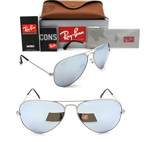 Ray-Ban Aviator RB 3025 019/W3 58mm Matte Silver Polarized Silver Mirror - Aviators Ban Mens Sunglasses Ray
