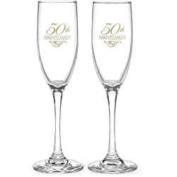 Hortense B. Hewitt Wedding Accessories 50th Anniversary Champagne Toasting Flutes, Set of 2