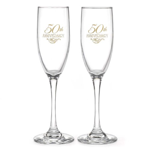 50th Anniversary Barware Set - Hortense B. Hewitt Wedding Accessories 50th Anniversary Champagne Toasting Flutes, Set of 2