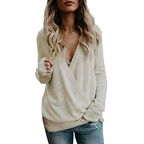 GOVOW V-Neck Long Sleeve Shirt Women on Clearance Knitted Deep Wrap Front Loose Sweater Pullover(US:10/CN:XL,Beige)