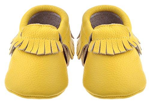Lauflernschuhe Sayoyo Leder Premium Quasten Krabbelschuhe Gelb Baby M盲dchen Weiches Babyschuhe r17g1UHqBZ