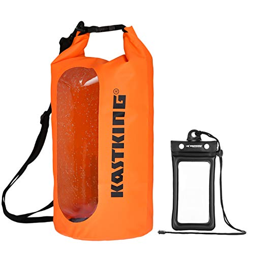 KastKing Floating Waterproof Dry Bag 10L/20L/30L Roll Top Sack Keeps Gear Dry for Kayaking, Rafting, Boating, Swimming, Camping, Hiking with IPX8 Floating Waterproof Phone Case -