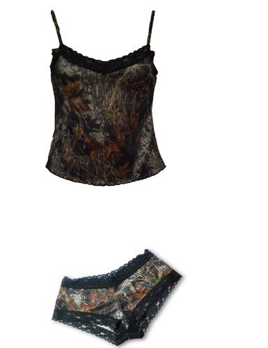 Mossy Oak Camisole Lingerie Set - Juniors Camo & Black La...