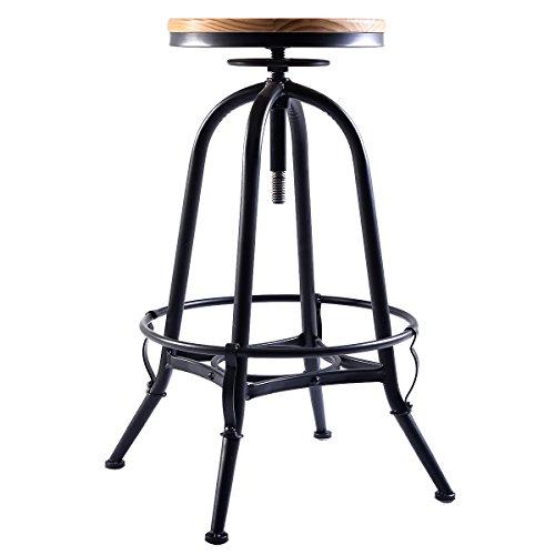 Vintage Bar Stool Industrial Metal Design Wood Top Adjustable Height Swivel NEW