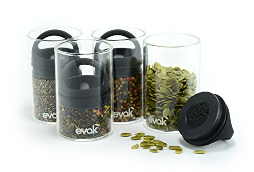 Handle Lever Glass - SET OF 4 EVAK MINI- Best PREMIUM Airtight Storage Container for Coffee Beans, Tea and Dry Goods - EVAK - Innovation that Works by Prepara, Glass and Stainless, Compact Handle, Mini (Black Rubber)