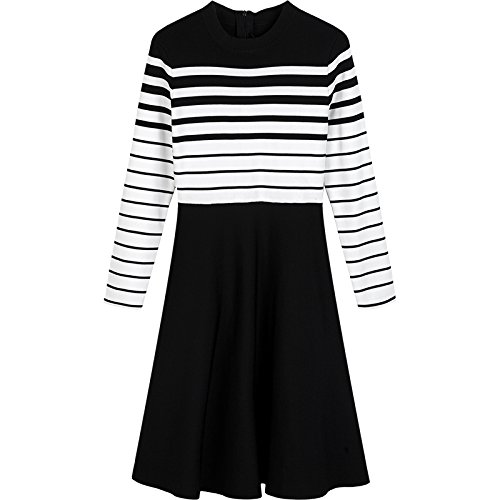 L Stripe mixed color ZHUDJ Striped Knitted Dress In Autumn And Winter Women'S Body Repair, Thin Long Sleeves And color Waist A Skirt