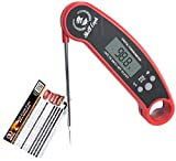 Digital Meat Thermometer - Pro Instant Read Portable Food Waterproof Thermometer with Long Steel Probe Backlight Calibration and Bottle Opener for Kitchen Cooking BBQ Grilling and Smoker