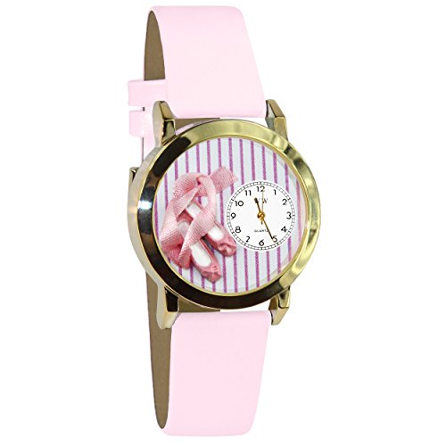 Watches Shoe Children (Whimsical Watches Kids' C0510005 Classic Gold Ballet Shoes Pink Leather And Goldtone Watch)